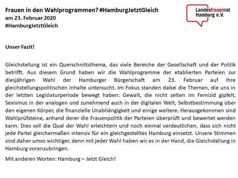 Frauen in den Wahlprogrammen? #HamburgJetztGleich
